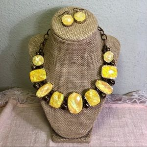 Yellow Iridescent Glimmer Necklace & Earrings Set
